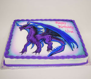 McArthur's Bakery Custom Cake with Purple Dragon, Wings