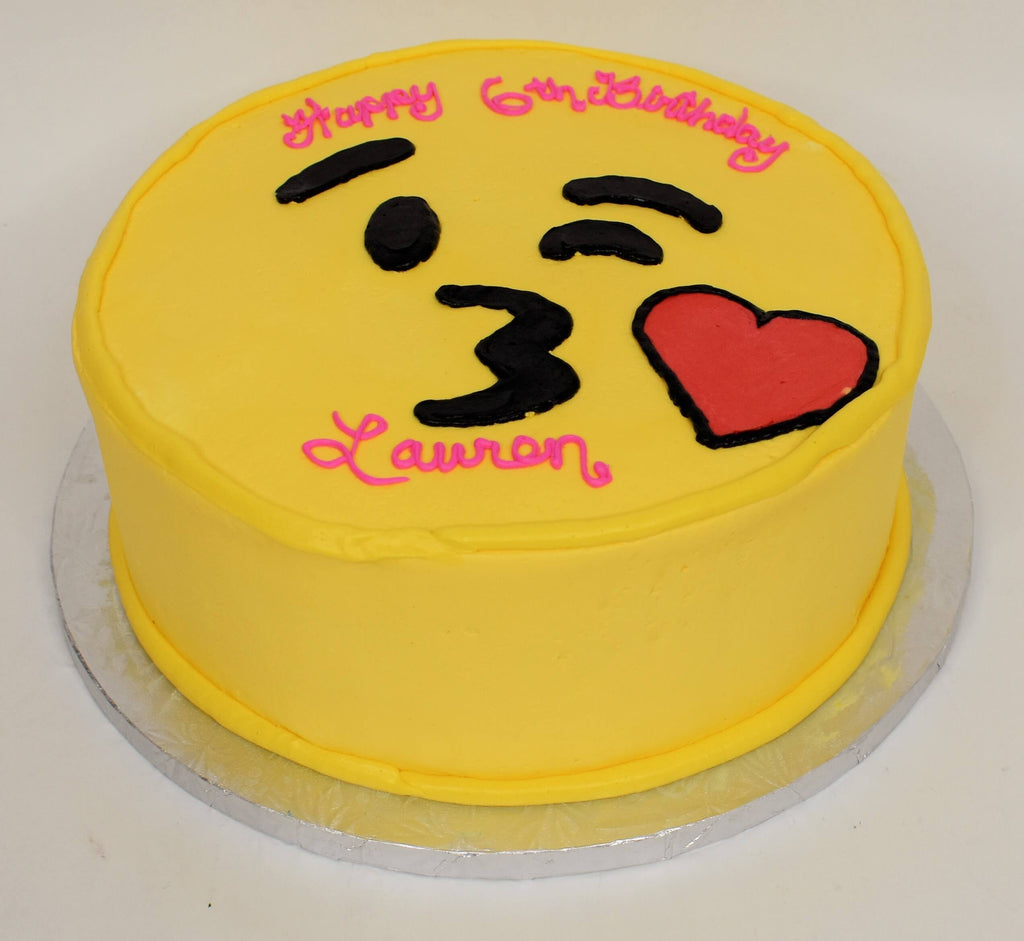 McArthur's Bakery Custom Cake with Kissy Face Emoji