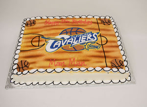 McArthur's Bakery Custom Cake with Cleveland Cavaliers, Basketball Court, and Baketballs