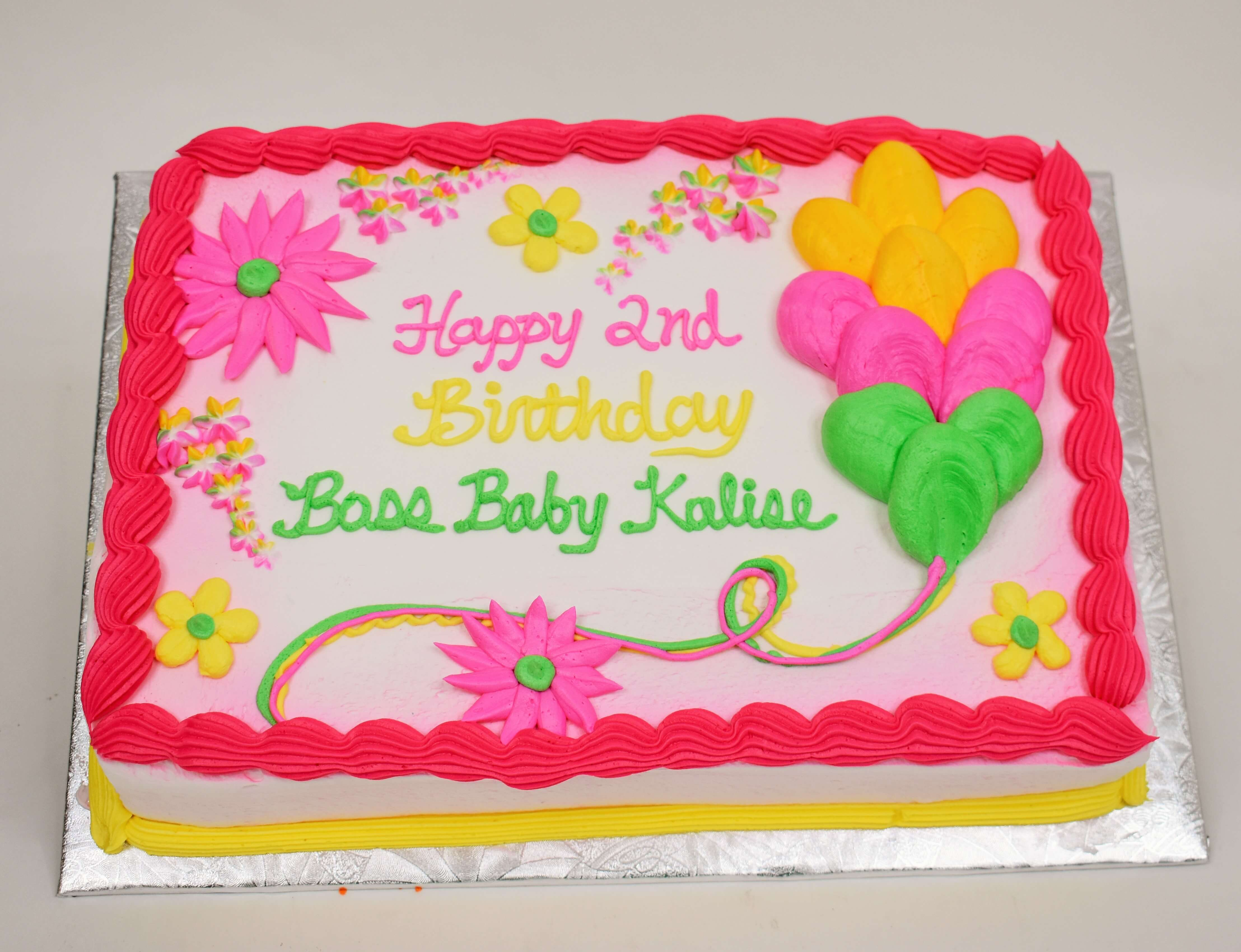 McArthur's Bakery Custom Cake with Pink and Yellow Flowers and Balloons