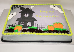 MaArthur's Bakery Custom Cake with Haunted House, Ghosts, Pumpkins, Spider Webs