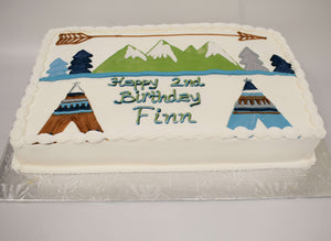 MaArthur's Bakery Custom Cake with Teepee, Arrow, Mountains.