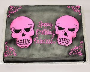 MaArthur's Bakery Custom Cake with Pink Skull, Black Background