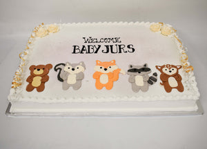 McArthur's Bakery Cake designed with a bear, raccoon, fox, squirrel and chipmunk