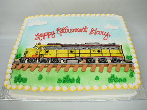McArthur's Bakery Custom Cake with a Detailed Rendering of a Locomotive Train Engine
