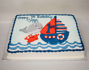 McArthur's Bakery Custom Cake with Sailboat, Whale, Crab, Ocean Waves