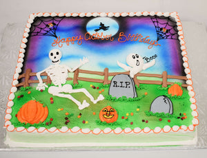 MaArthur's Bakery Custom Cake with Skeleton, Ghost, Tomb Stones, Pumpkins