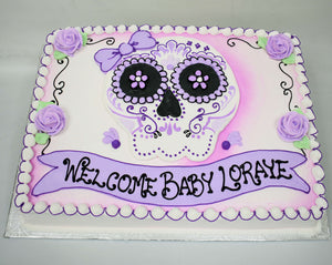 McArthur's Bakery Custom Cake with Sugar Skull, Purple, Bow, Roses.