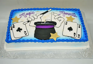 McArthur's Bakery Custom Cake with Magician Hat, Gloves, Wand and Cards
