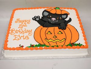 MaArthur's Bakery Custom Cake Black Cat, Pumpkin