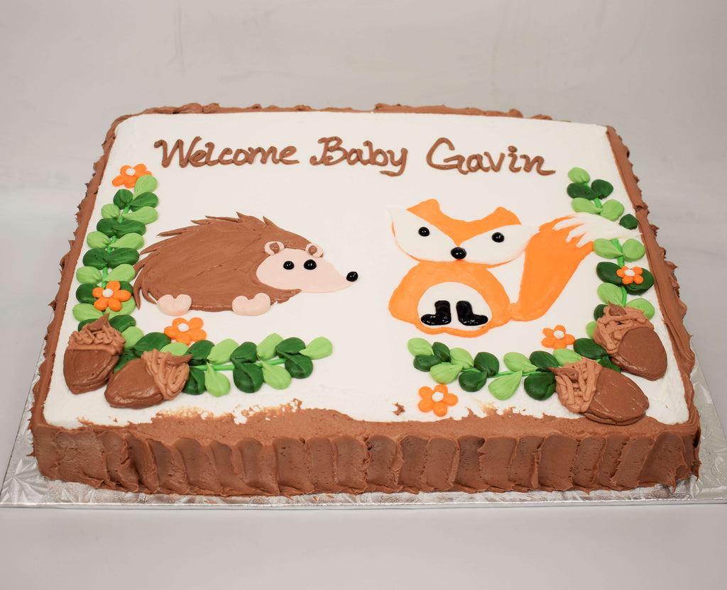 McArthur's Bakery Custom Cake with Raccoon, Porcupine, Acorns,