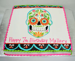 McArthur's Bakery Custom Cake with Sugar Skull, Small Scroll, Little Red Flowers