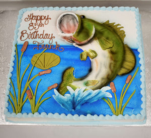 McArthur's Bakery Custom Cake with Large Mouth Bass, Plants.