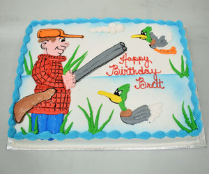 McArthur's Bakery Custom Cake with Man with Gun, Ducks, Lake background, Water Plants