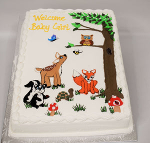 MaArthur's Bakery Custom Cake with Owl, Deer, Fox, Raccoon, Turtle, Mushrooms