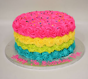 Four Colored Rosette Cake