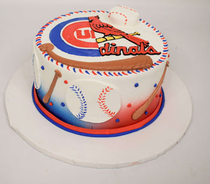 McArthur's Bakery Custom Cake with Cubs, Cards, Bat, Ball, Baseball