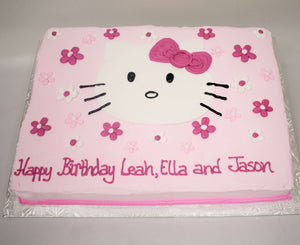 McArthur's Bakery Custom Cake with Hello Kitty, Pink Flowers