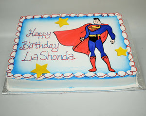 MaArthur's Bakery Custom Cake with Superman, Cape, Stars