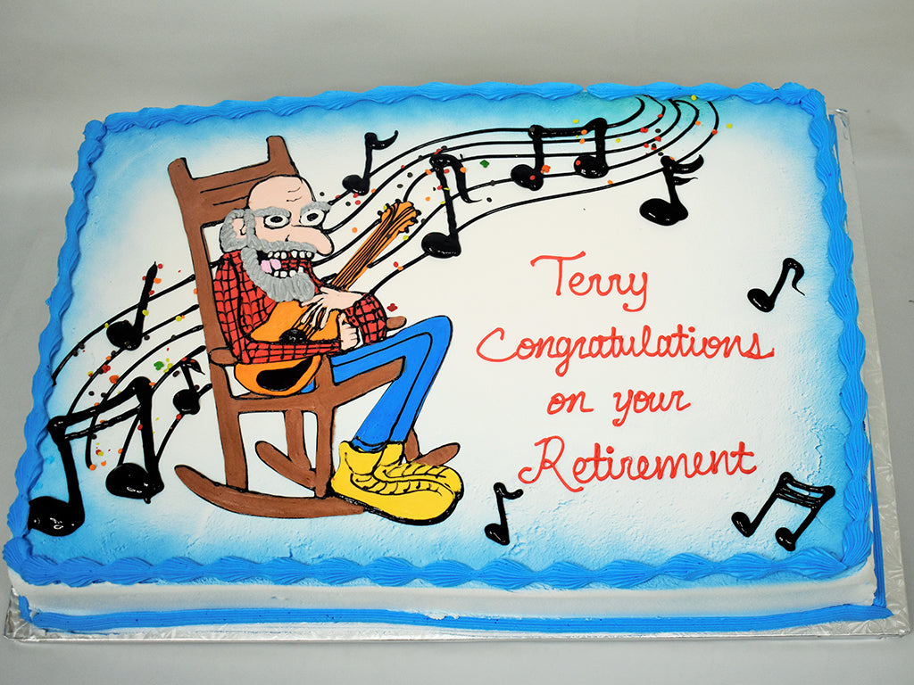 McArthur's Bakery Custom Cake with Grandpa in Rocking Chair Playing Guitar