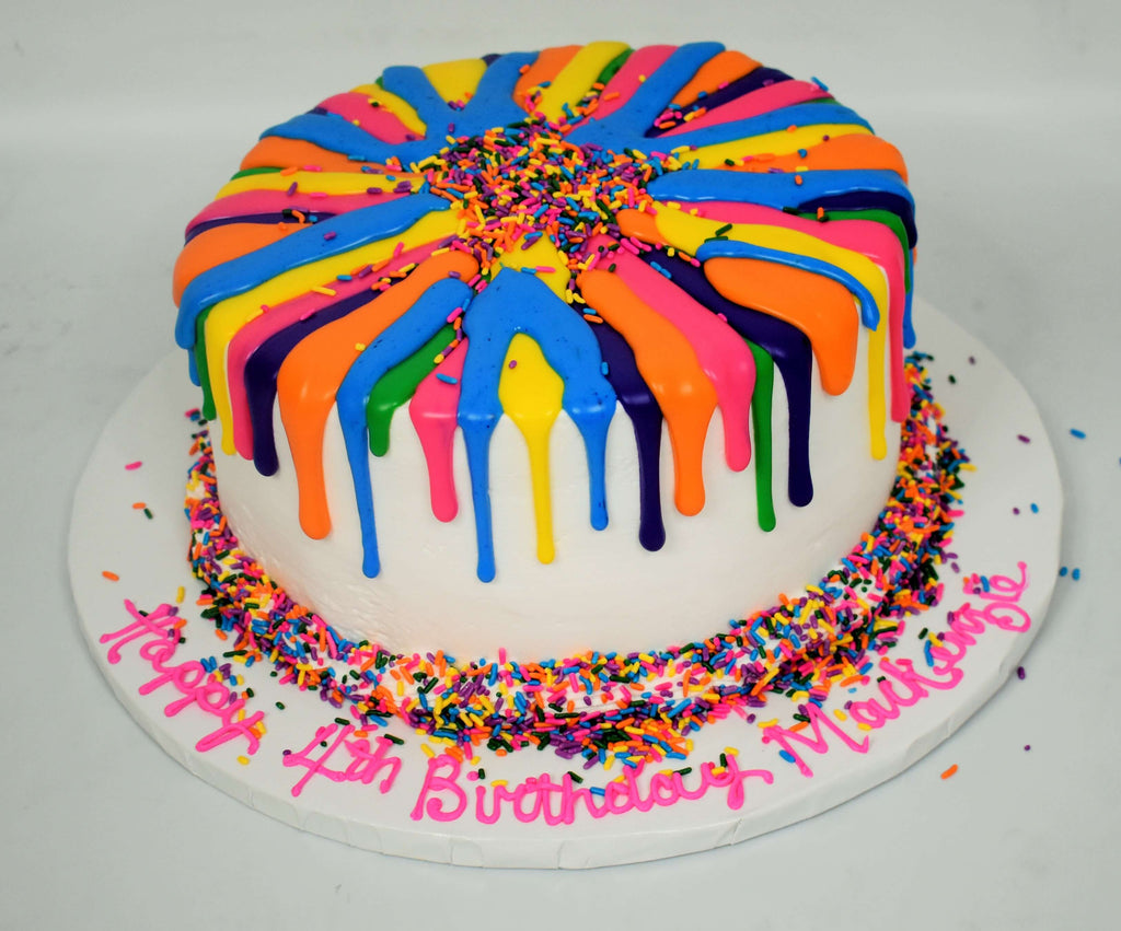 MaArthur's Bakery Custom Cake with Multi Colored Drip and Rainbow Confetti