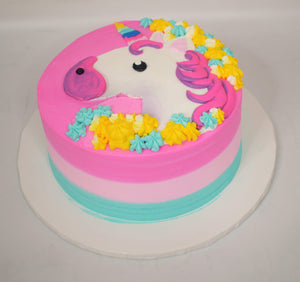 MaArthur's Bakery Custom Cake with Unicorn, Rainbow Horn, Pink Mane, Blue and Yellow Star Tip