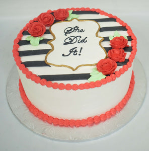 McArthur's Bakery Custom Cake with Black Stripes, Red Roses, Gold Rimmed Plaque