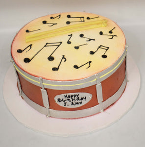 MaArthur's Bakery Custom Cake with Drum, Drum Sticks, Musical Notes
