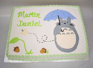 MaArthur's Bakery Custom Cake with Totoro with umbrella, Acorns, and Butterfly