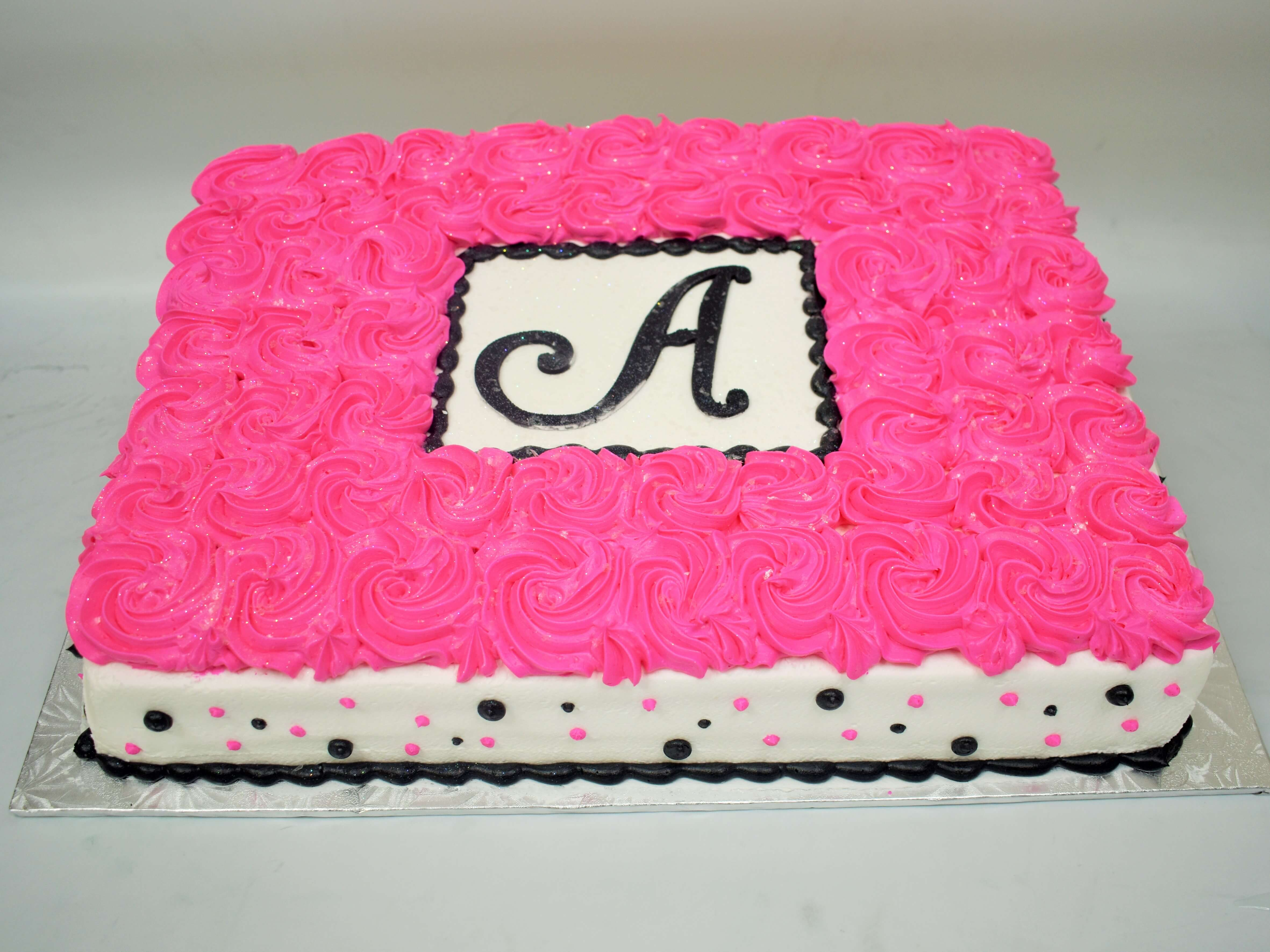 MaArthur's Bakery Custom Cake Pink Rosettes, Pink and Black Polka Dots