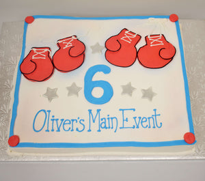 McArthur's Bakery Custom Cake with Boxing Gloves, Stars, Large Number