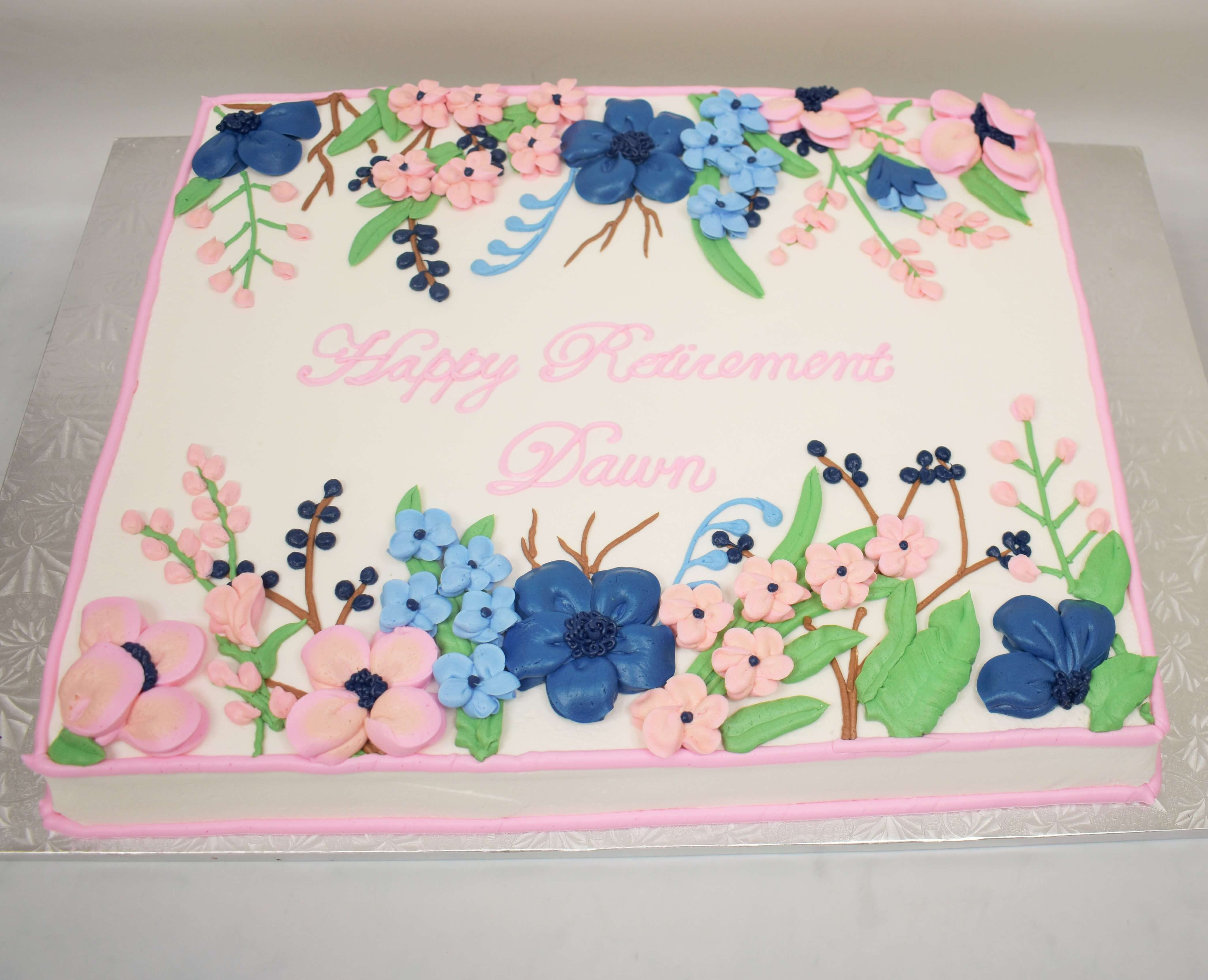 McArthur's Bakery Custom Cake with Assorted Flowers, Lite Pinks, Blues