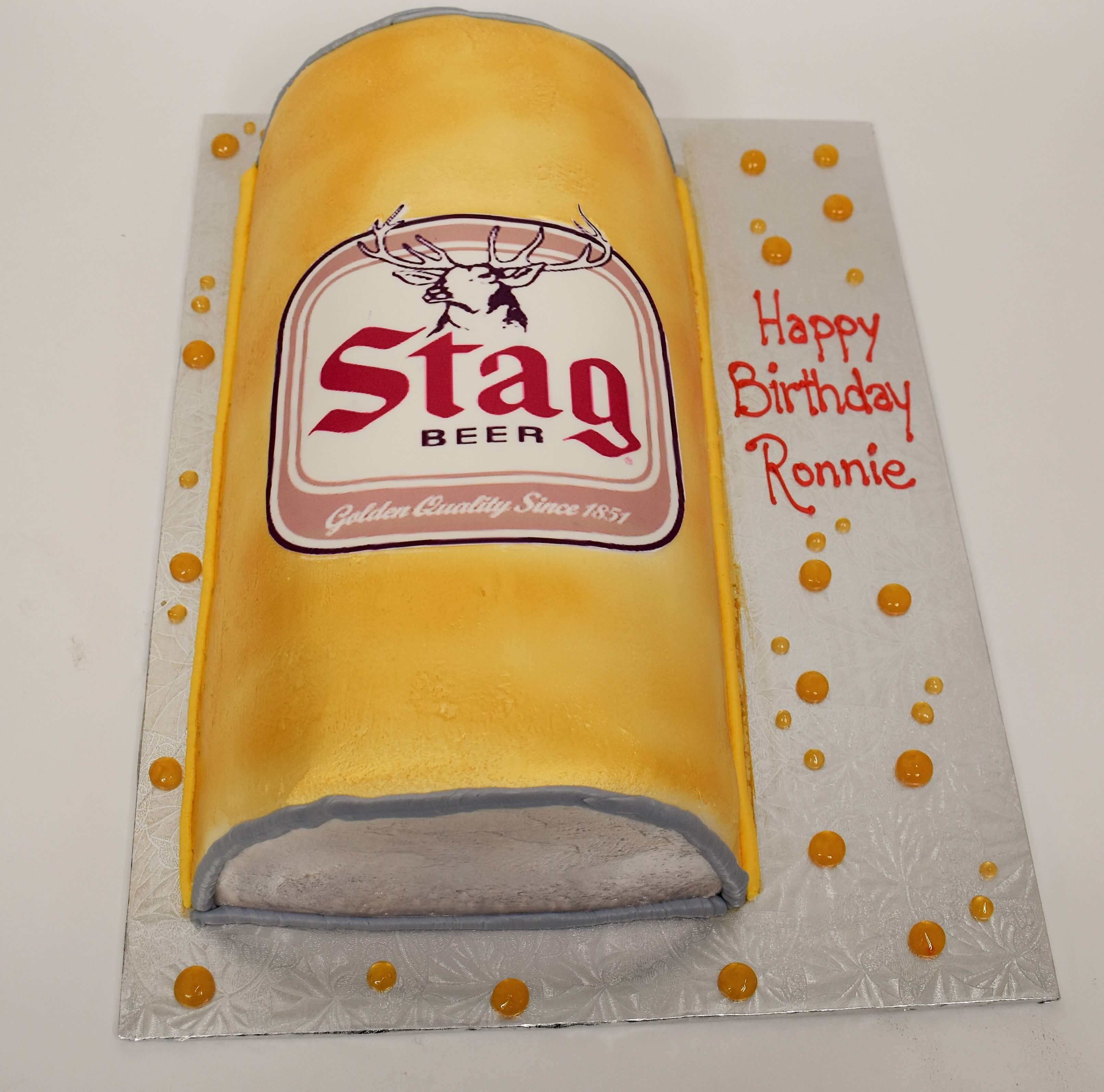 McArthur's Bakery Custom Cake with a Stag Beer Can Cut Out