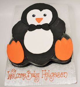 MaArthur's Bakery Custom Cake with a Penguin Cut Out Wearing a bowtie