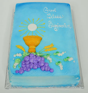 MaArthur's Bakery Custom Cake Sprayed Blue, with Chalice, and Purple Grapes