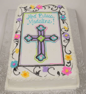 McArthur's Bakery Custom Cake with Colorful Cross and Flower Border
