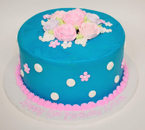 McArthur's Bakery Custom Cake with Blue Icing, Pink Roses and Pink Polka Dots