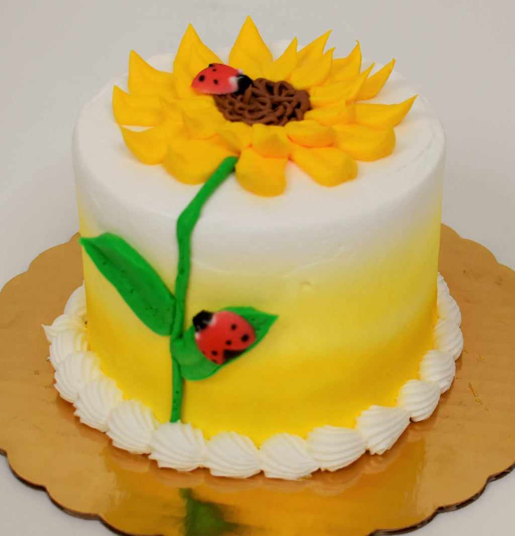 Sunflower with Ladybugs Cake