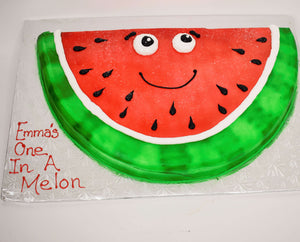 McArthur's Bakery Custom Cake with Watermelon Cut Out, Smiley Face