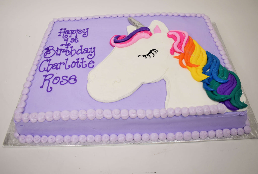 MaArthur's Bakery Custom Cake With Unicorn and Rainbow Mane