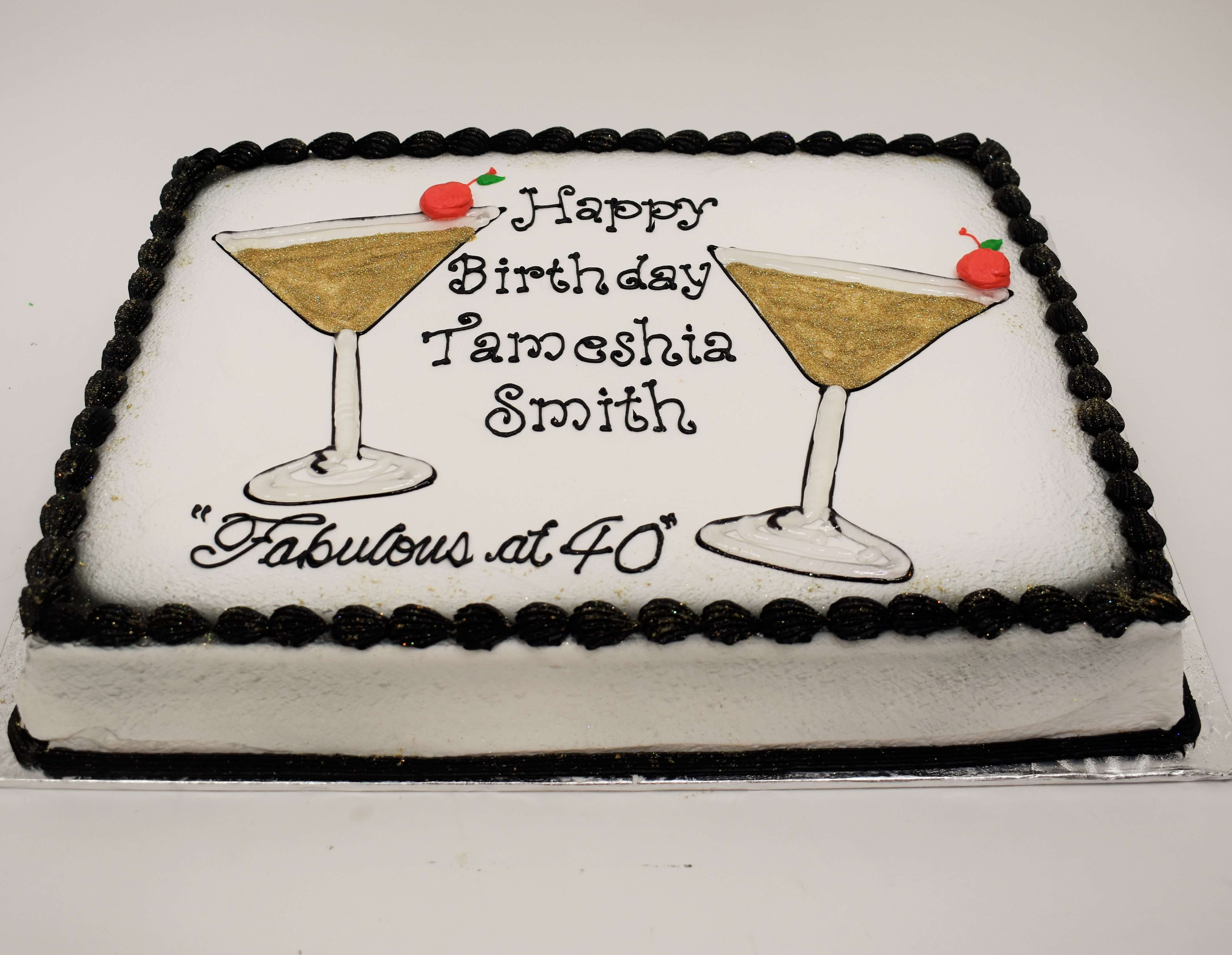 MaArthur's Bakery Custom Cake With Martini Glasses with Cherries on the rim