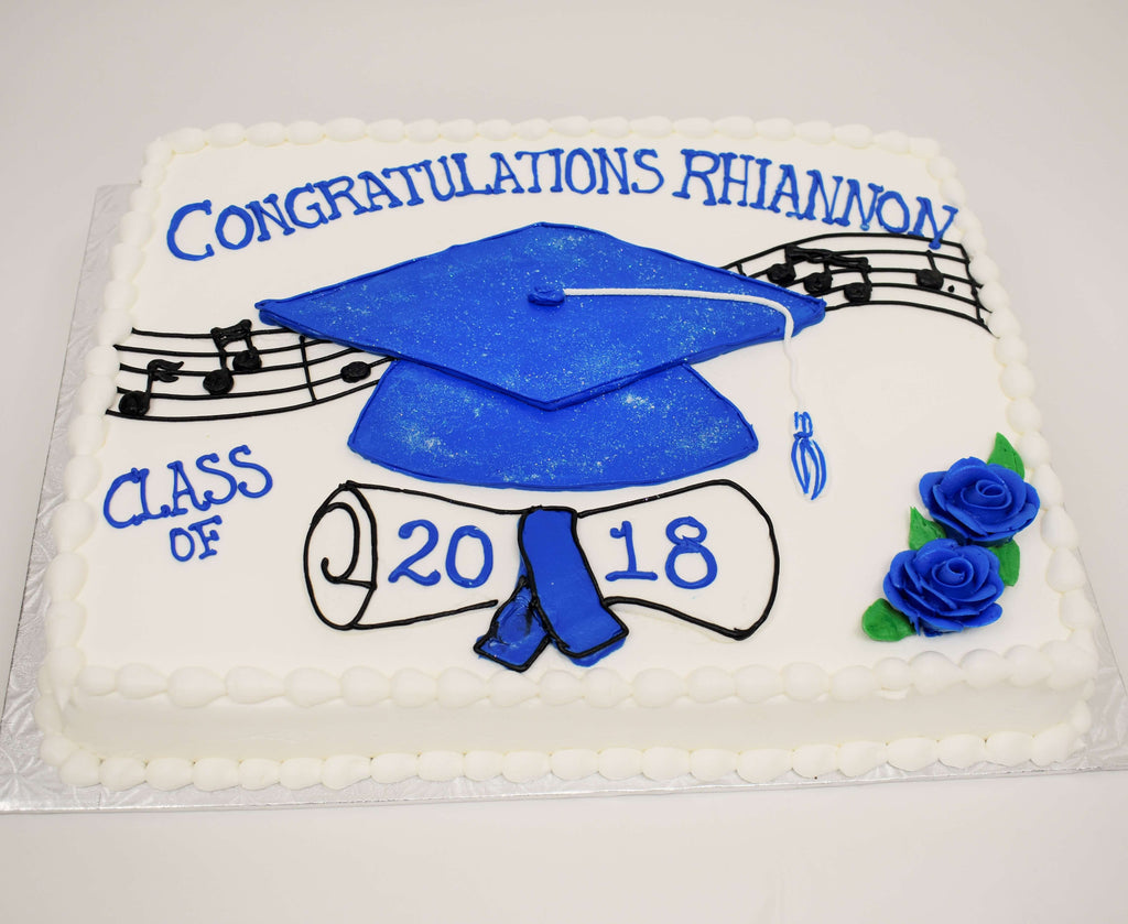 McArthur's Bakery Custom Cake with Large Blue Graduation Hat, Scroll and Music Notes