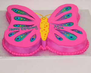 McArthur's Bakery Custom Cake with a Butterfly Cut Out with Pink Icing