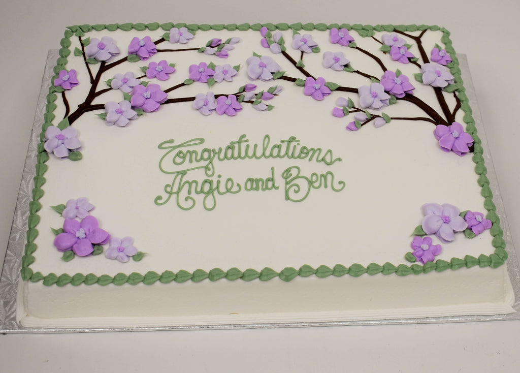 MaArthur's Bakery Custom Cake with Purple Dogwood Flowers