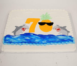 McArthur's Custom Cake With Sharks Jumping Out Of The Ocean