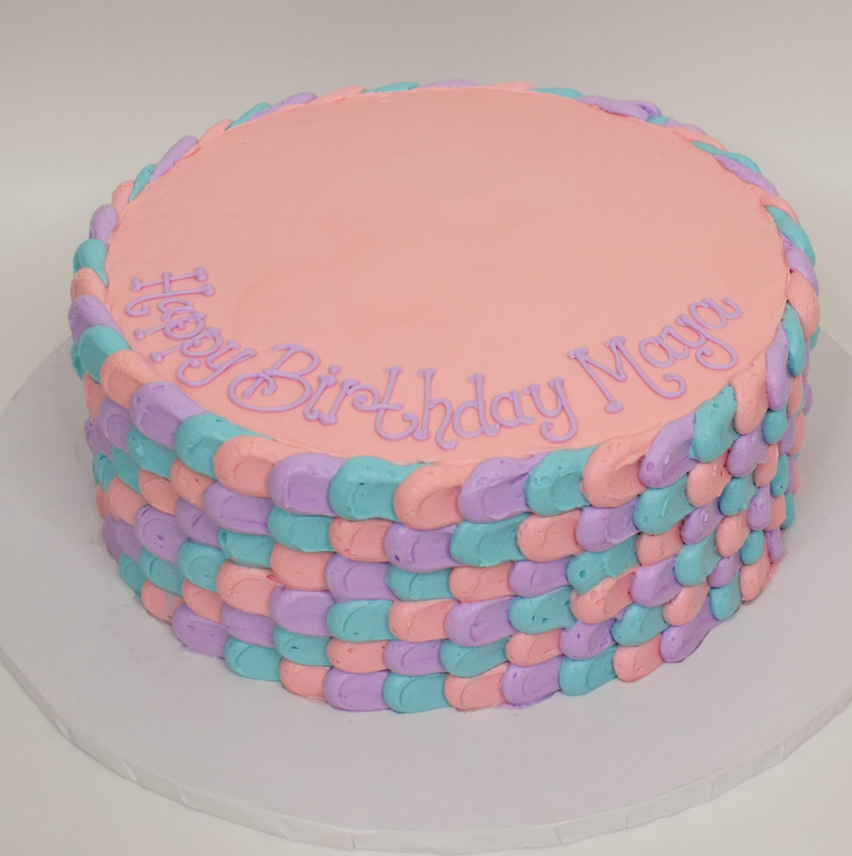 MaArthur's Bakery Custom Cake with Purple, Blue and Pink Mermaid Scales