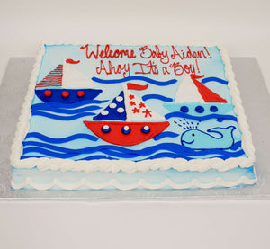 McArthur's Bakery Custom Cake With Three Sailboats Sailing