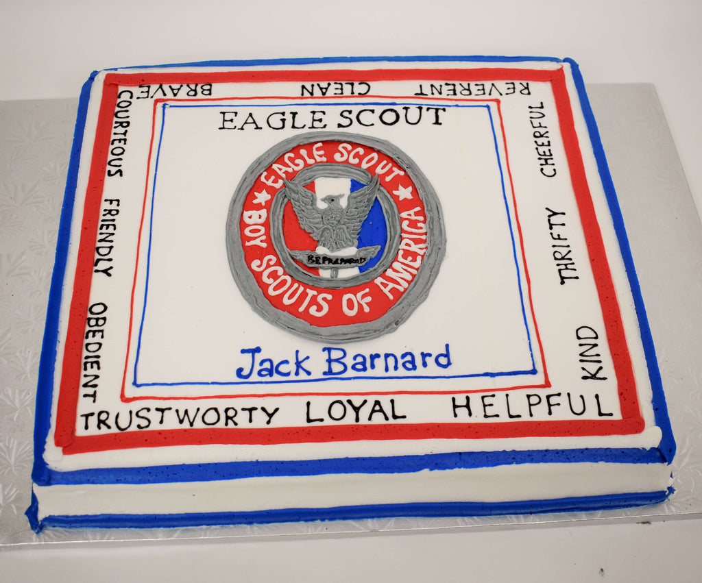 McArthur's Bakery Custom Cake With Eagle Scout Award And Scout Law