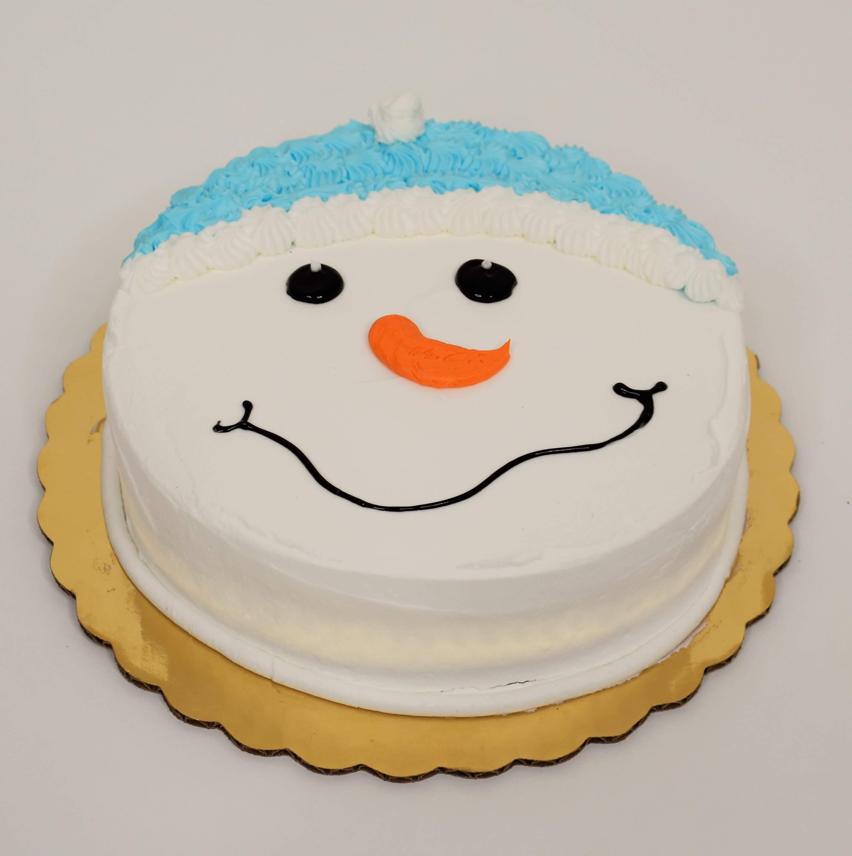McArthur's Bakery Custom Cake with Snowman, Blue Hat, Snowman Face