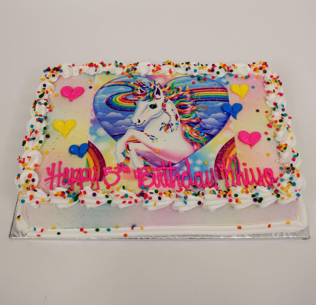 McArthur's Bakery Custom Cake with Unicorn and Rainbow Scan, Confetti Sprinkles
